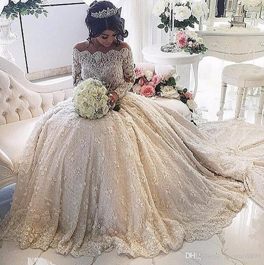Discount Vestidos De Novia 2019 Long Sleeve Off Shoulder Luxury Lace  Wedding Gowns With Appliques Pearls See Through Bodice Dubai Bridal Gowns  Cheap