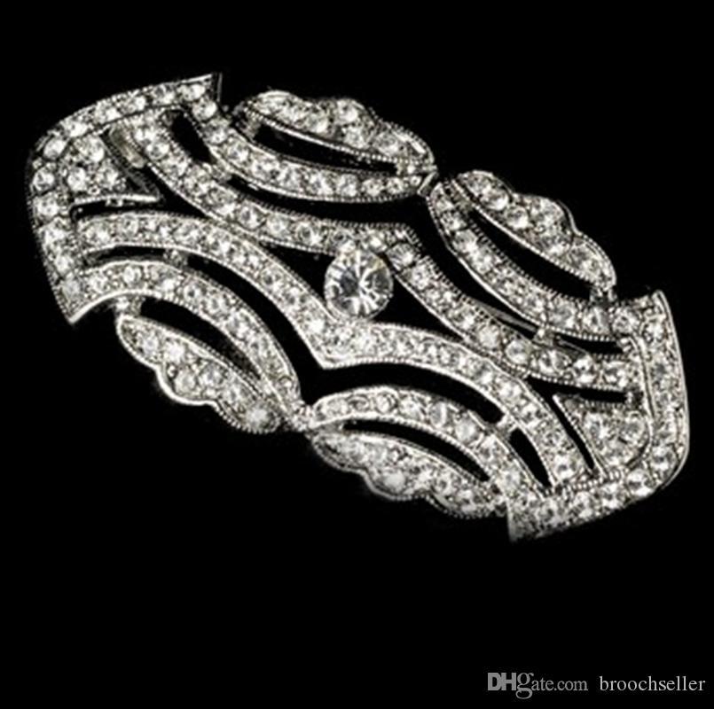 Rhodium Silver Plated Elegant Vintage CZ Crystal Party Brosch Pin Bröllop Tillbehör