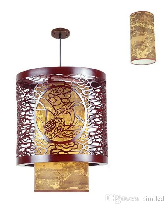 Classic Chinese Style Wooden Pendant Lamp Vintage Dining Room Pendant Light Tea House Hallway Balcony Hanging Lamps LLFA