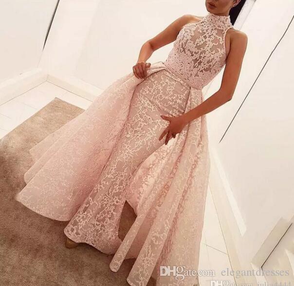 Yoasef aljasmi cuello alto sobre falda noche vestidos formales 2021 aplique de encaje Dubai árabe sirena ocasión vestido de fiesta con tren desmontable