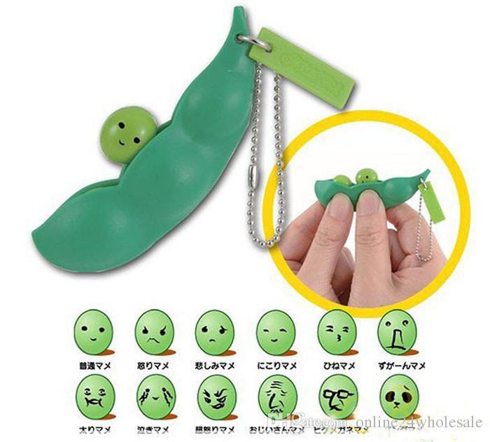حار بيع مضحك النتوء تقلص فول الصويا المفاتيح كيرينغ المنبثقة البازلاء الضغط اللعب هدية للطفل أطفال مصنع wholeale