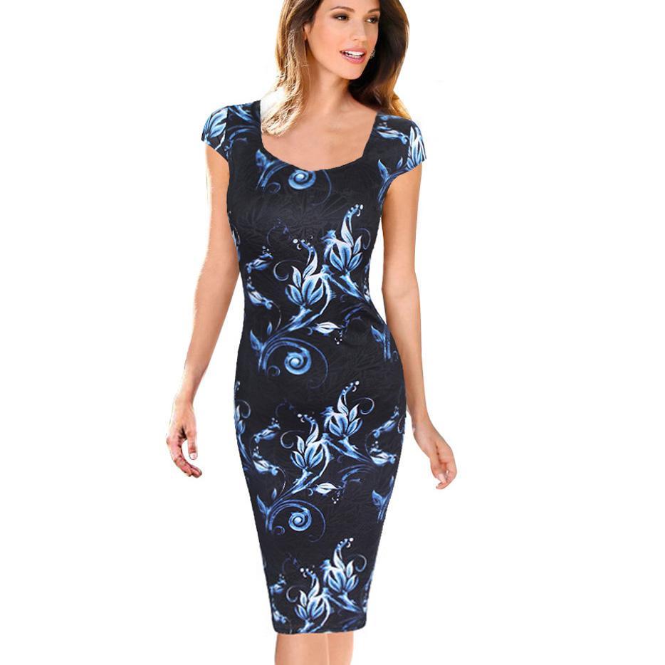 2019 Fashion Women Dress Elegant Floral Print Cap Sleeve Plus Size Dresses  Work Business Casual Party Vestidos 004 1 From Edmund02, $25.67   ...