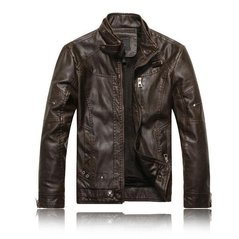 Hombres cuero de la motocicleta chaquetas Chaqueta de cuero nueva manera de los hombres del otoño de invierno polar Jaqueta de couro Masculina M-3XL