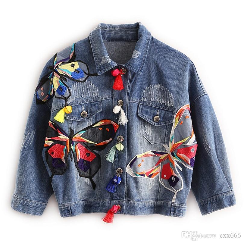 2017 Nouveau Coloré Papillon Broderie Dames Imprimer Vestes Patch Designs Femmes Denim Manteaux avec Gland Court Chaquetas Mujer Mince Veste