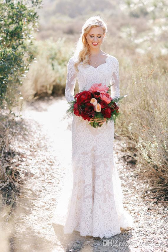 Full Lace Western Country Wedding Dresses 2018 Long Sleeves ...