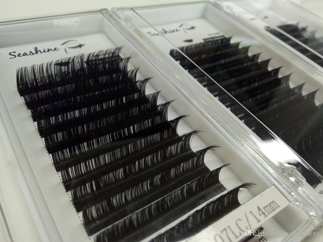 Top quality Seashine 2018 C Curl 0.20mm individual eyelash false eyelash 8-15mm volume eyelash Russian material handmade top quality