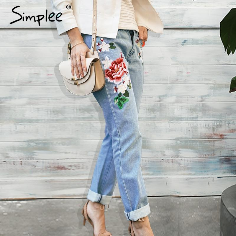 Simplee Jeans ricamo floreale femminile Zipper inverno jeans denim dritto jeans donna Moda tasca jeans blu chiaro