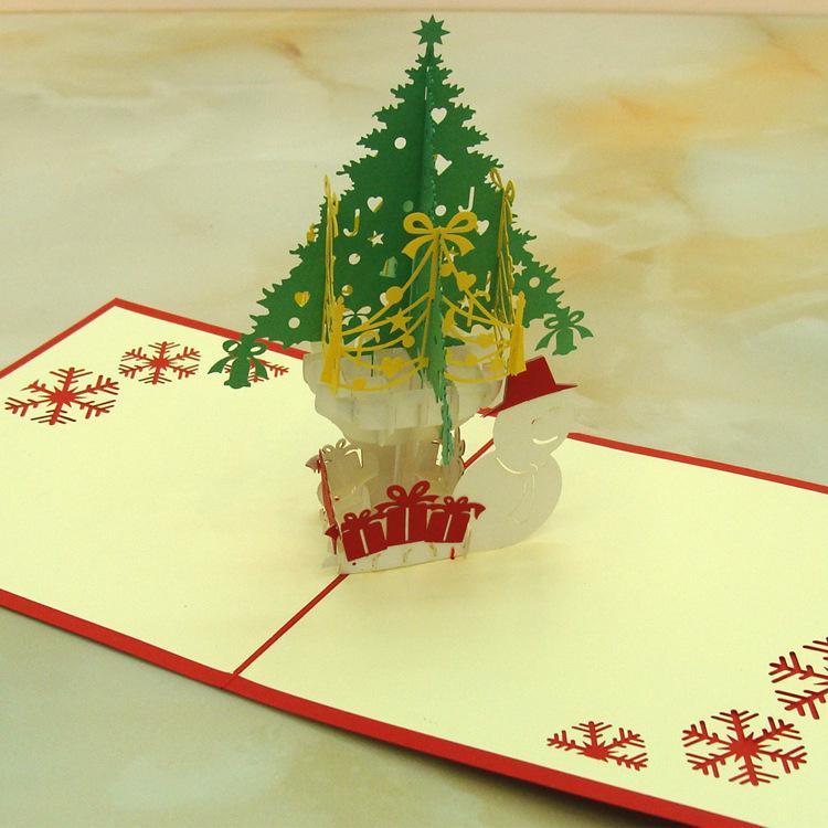 10 unids / lote corte láser invitaciones de boda 3D árbol de navidad cúbico y muñeco de nieve niños tarjetas de cumpleaños tarjetas de felicitación del día de Navidad