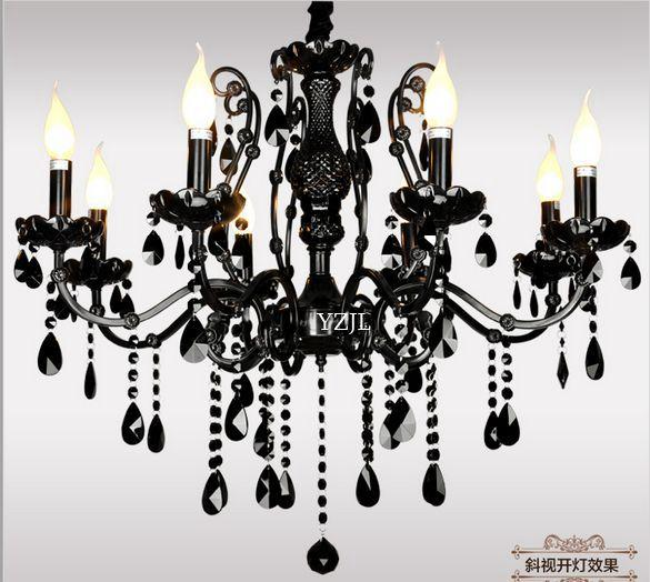 Black lamps chandelier crystal light livingroom bedroom American restaurant vintage iron lighting