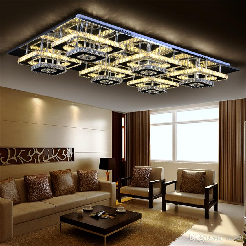2019 Modern Led Remote Control Square Champagne Crystal Ceiling Lights  Fixture Bedroom Led Wireless Kitchen Ceiling Plafond Lamp From Ok360,  $176.57 | ...