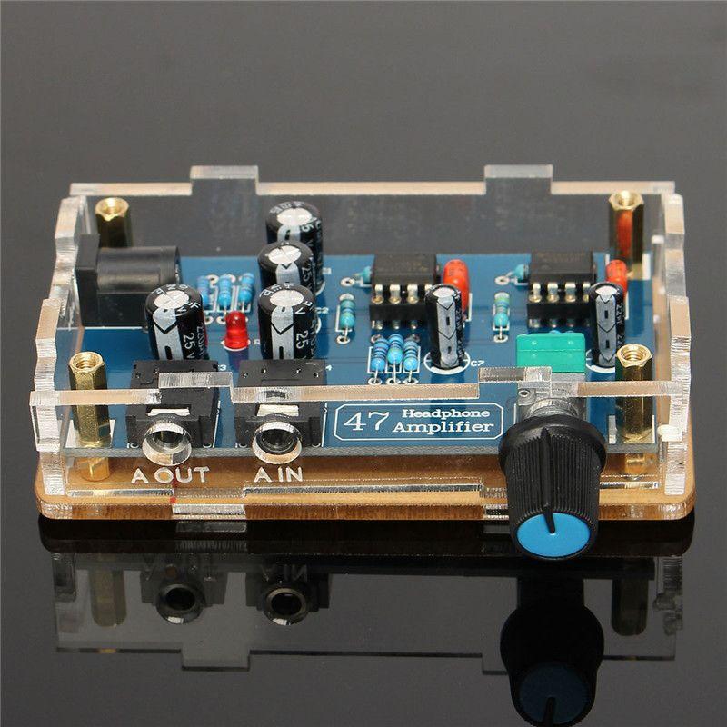Freeshipping fuente de alimentación individual Portátil HIFI Amplificador de auriculares PCB AMP Kit de bricolaje para DA47 Accesorios para auriculares Piezas electrónicas