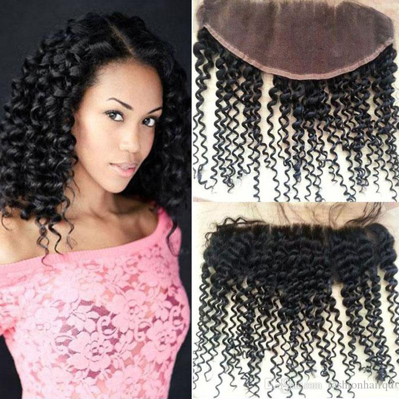 Brazilian Kinky Curly Lace Frontal 13*4 Free Part Cheap Unprocessed Virgin Human Hair Ear To Ear Lace Closure With Baby Hair Natural