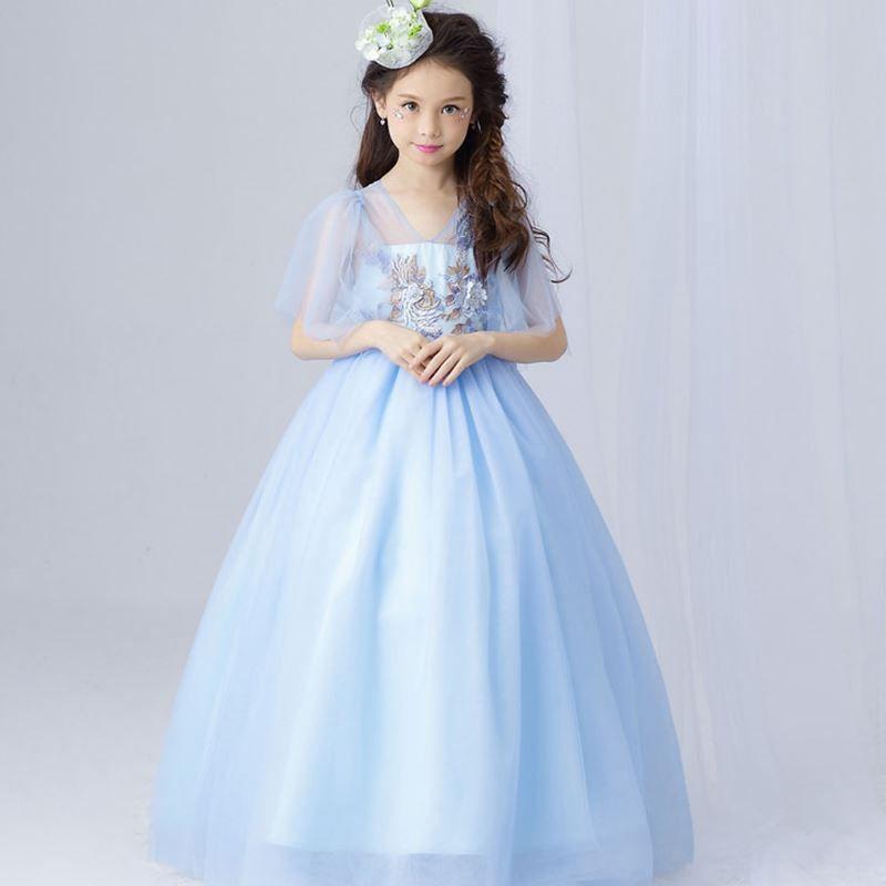 Hellblaue Blumenmädchenkleid Elegante Tüll Spitze Mädchen Hochzeitskleid Knöchellänge Appliques Bead Kids Party Prom Kleid Erste Kommunion Kleider