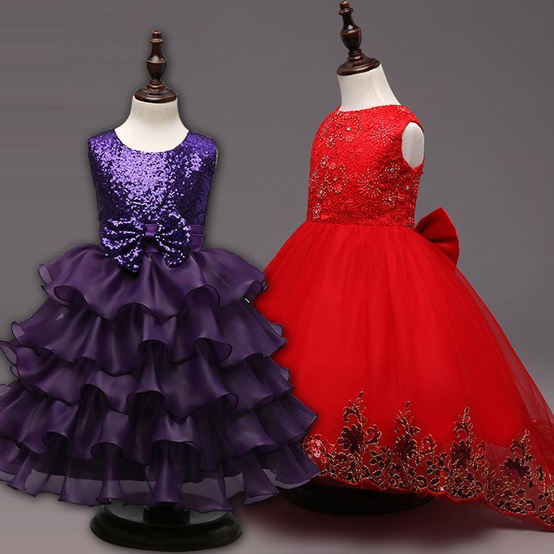 나비 꽃 자수 파티 웨딩 신부 들러리 공주 드레스 정장 어린이 의류 2020 새로운 여자가 드레스