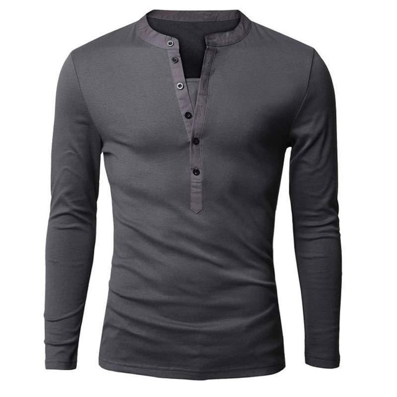 Wholesale- Unique T-Shirt Männer Einreiher V-Ausschnitt Langarm-Shirt Henley European Fashion Dark Grey T-Shirt Männer-T-Shirt XXL