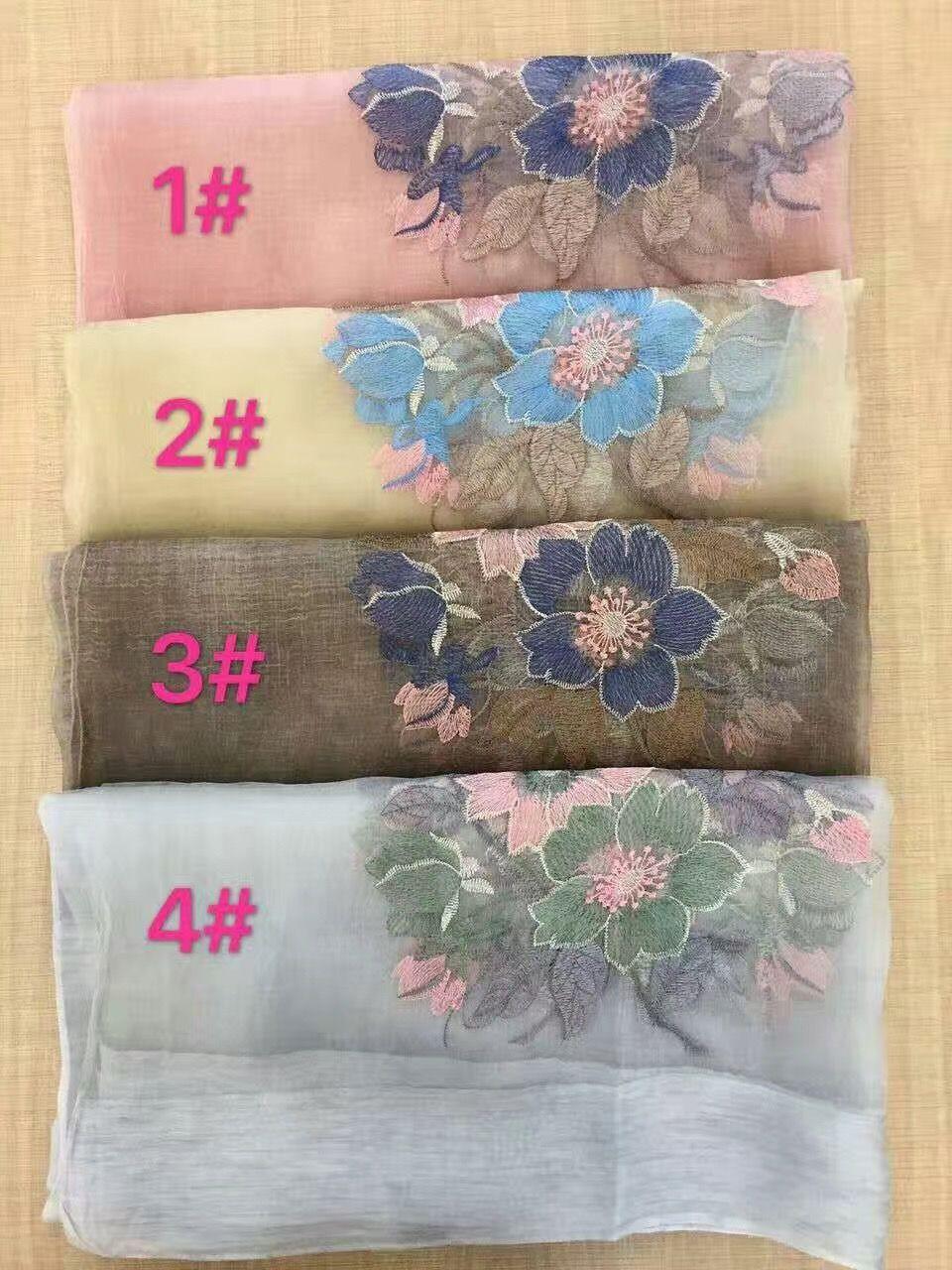 2017 neue silk wolle floral Stickerei Schal Schal Wrap 4 Farben gemischt 5pcs / lot # 4020
