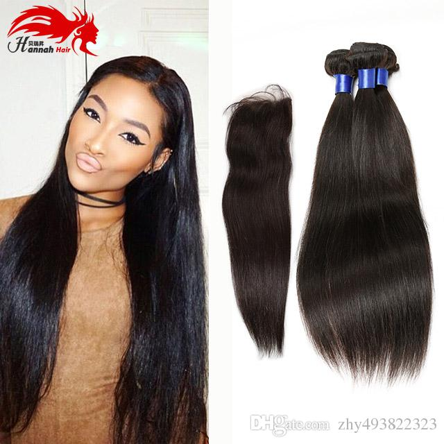 Hannah product Brazilian Virgin Straight Hair With Closure Human Hair 3 Bundles With Closure Unprocessed Virgin Hair