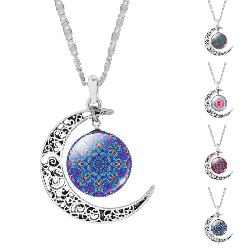Gros-Mandala Fleur OM Symbole Bouddhisme Zen Image Verre Cabochon Choker Lune Pendentif Collier Argent Plaqué Bijoux