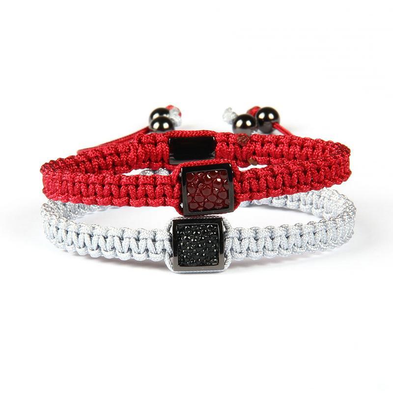 Hochwertiger Mens-Lederarmband-Großhandelsmischungs-Farben-echtes Pythonleder-Stingray-Makramee-Armband-Partei-Schmucksachen