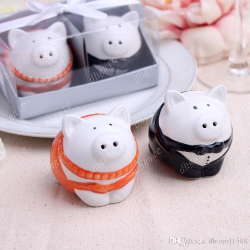 Chaud 200pcs = 100box Orange et noir / blanc et noir couleur mariée mariée de porc Shakers Salière de mariage cadeaux de douche nuptiale ..
