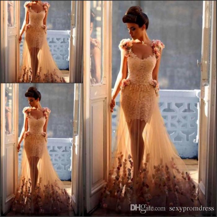 魅力的な3Dフローラルポタールパワーパワードレスvネックスルーチュールスカートレースイリュージョンボディスイブニングページェントドレス
