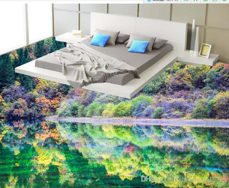 suelo de vinilo del pvc Jiuzhaigou pintura del paisaje suelo del vinilo de la pintura del piso 3D