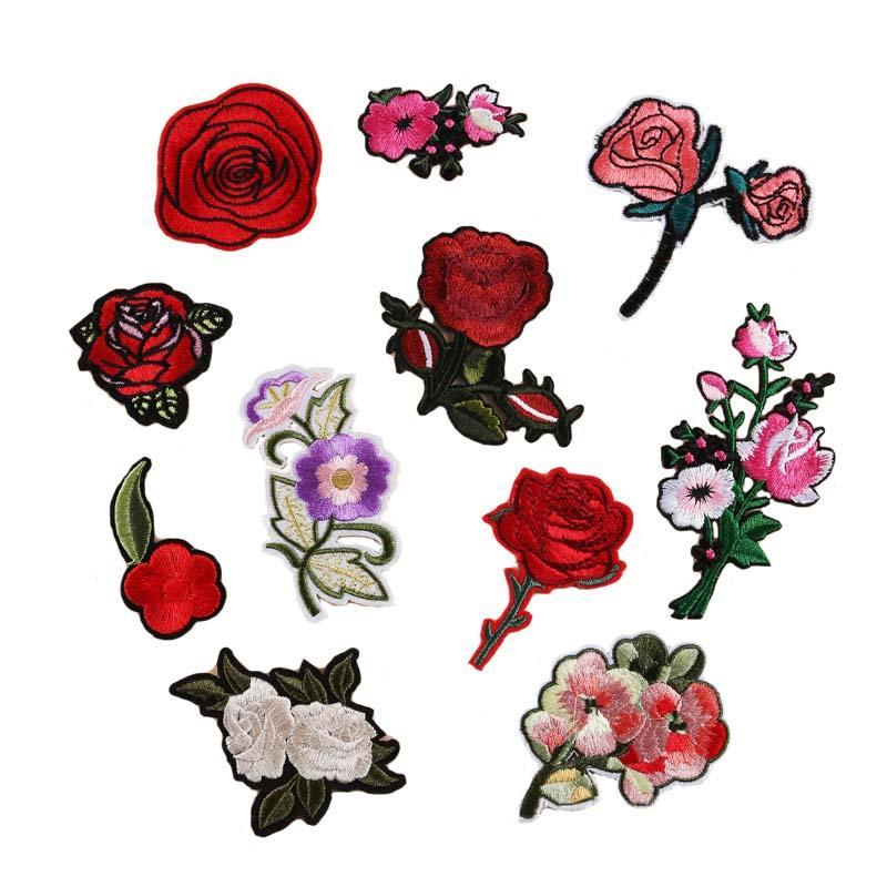 (11) 장미 꽃 자수 패치 의류 붙여 꽃 스티커 작은 로즈 지갑 가방 패치 무료 배송