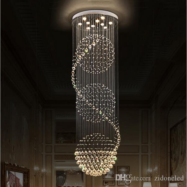 LED K9 Kristall Kronleuchter Lichter Treppen Hängelampe Innenbeleuchtung Dekoration mit D70CM H200CM Kronleuchter Leuchten