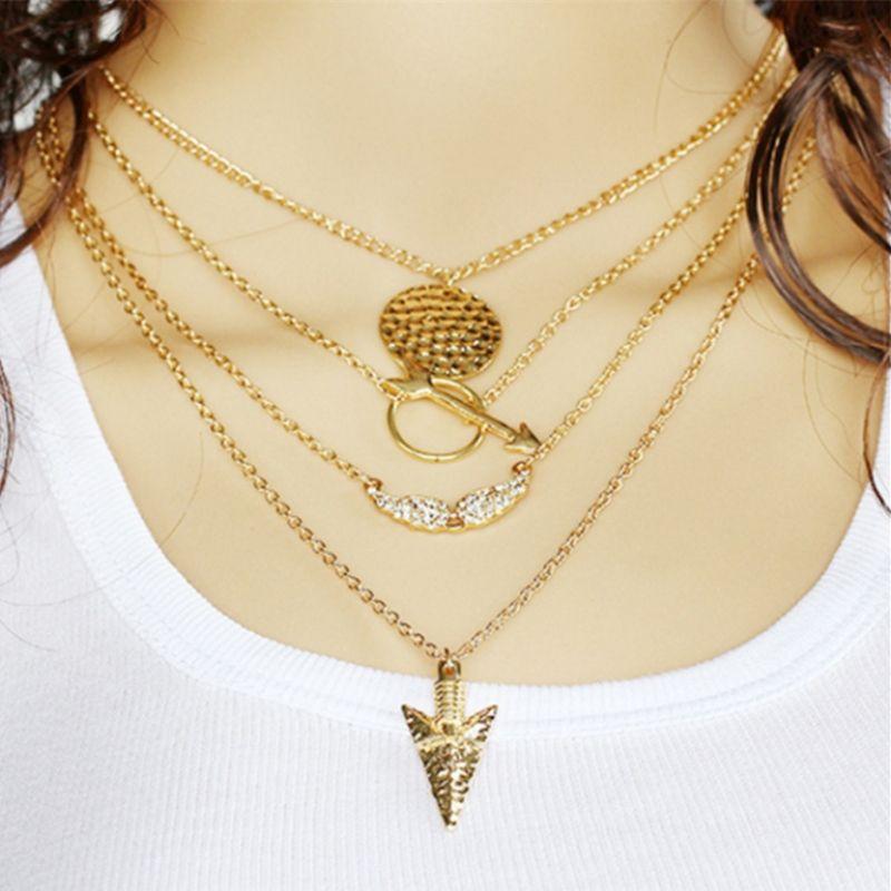 Кулон ожерелья крыло ангела ожерелье гипербола многослойные ожерелья для девочек цена матч платья индийский стиль винтаж европейский 2017