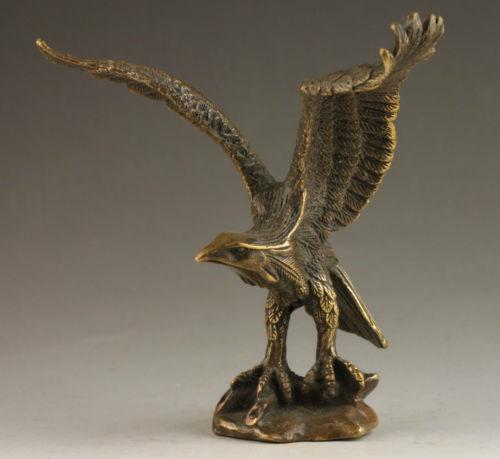 Delicate Chinese Collectable Handmade Old Carving Vivid Bronze Statue Eagle