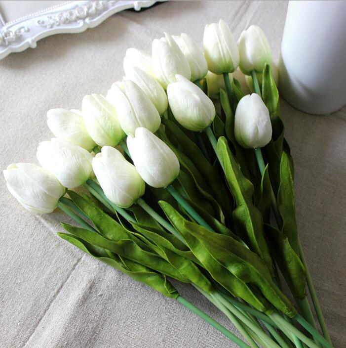 Tulipanes artificiales PU flor ramo Real Touch flores para la decoración casera de la boda flores decorativas 11 colores 10pcs = 1color