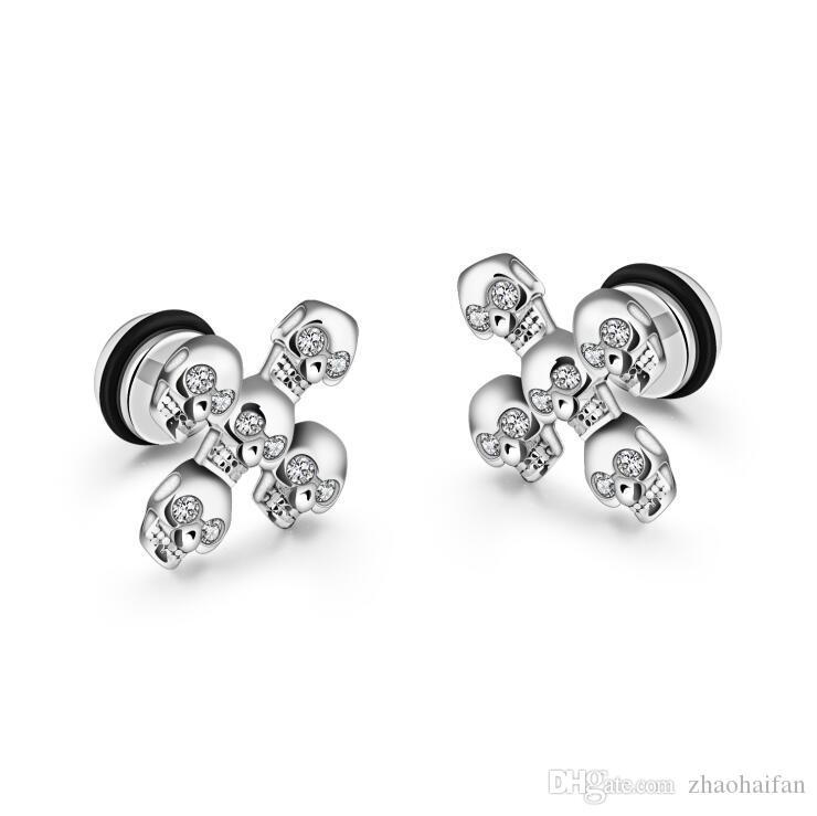 Boucles d'oreilles crâne en acier inoxydable pour hommes boucles d'oreilles Boucles d'oreilles zircone cubique bijoux noir / blanc / or