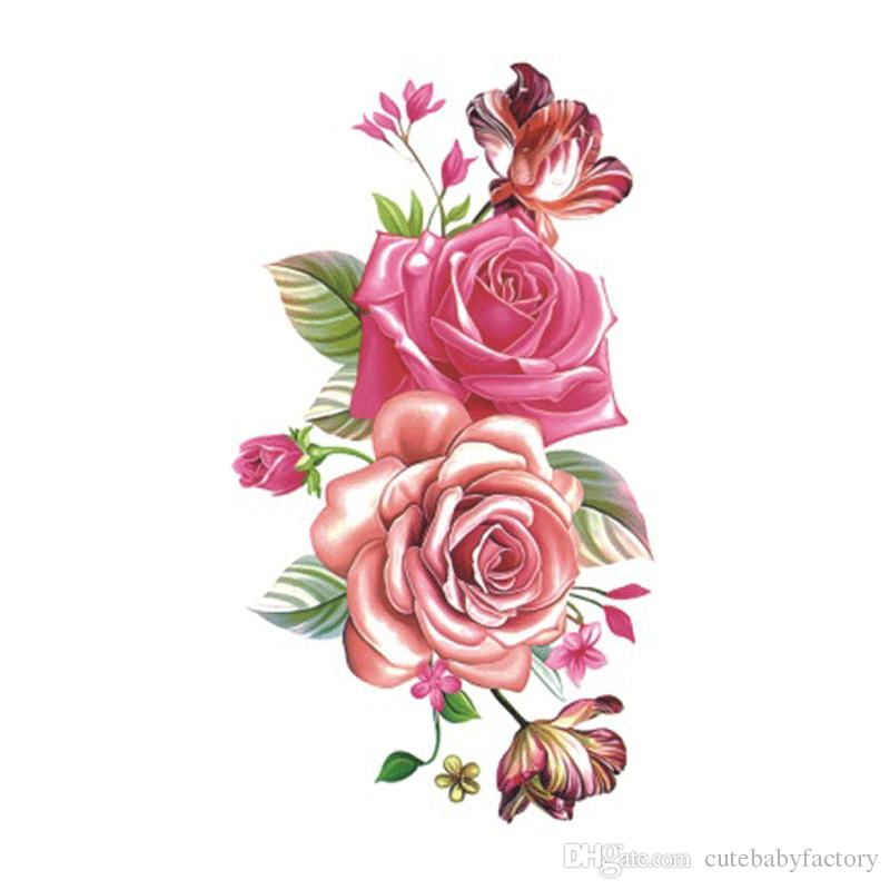 Flower Rose Waterproof Temporary Tattoo Sticker for Women Body Art Fake Tattoo 10.5X6cm New Design Tatoo P-061