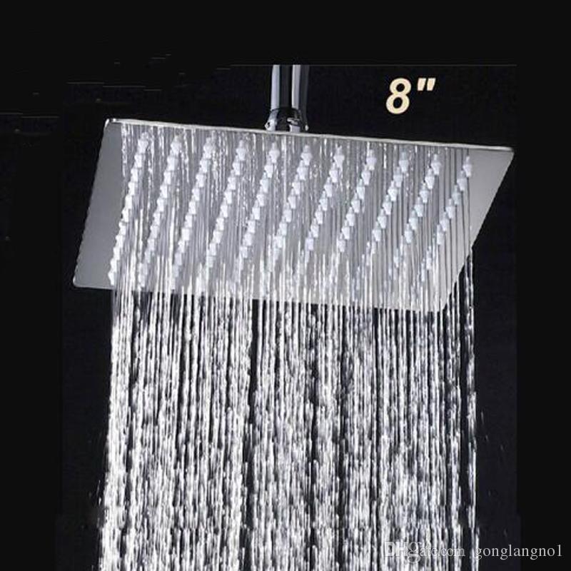 """Acabamento Cromado ultrafino 8/"""" chuva de chuveiro Cabeça com 20cm Braço Chuveiro montagem no teto"""