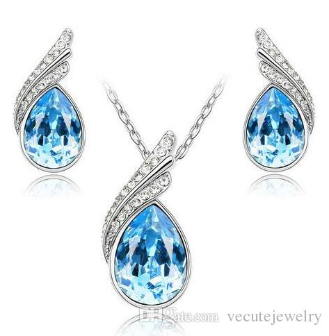 Wholesale Price 18K White Gold Plated Crystal Necklace Earrings Jewelry Set made With CZ Elements Health Wedding Jewelry for Women