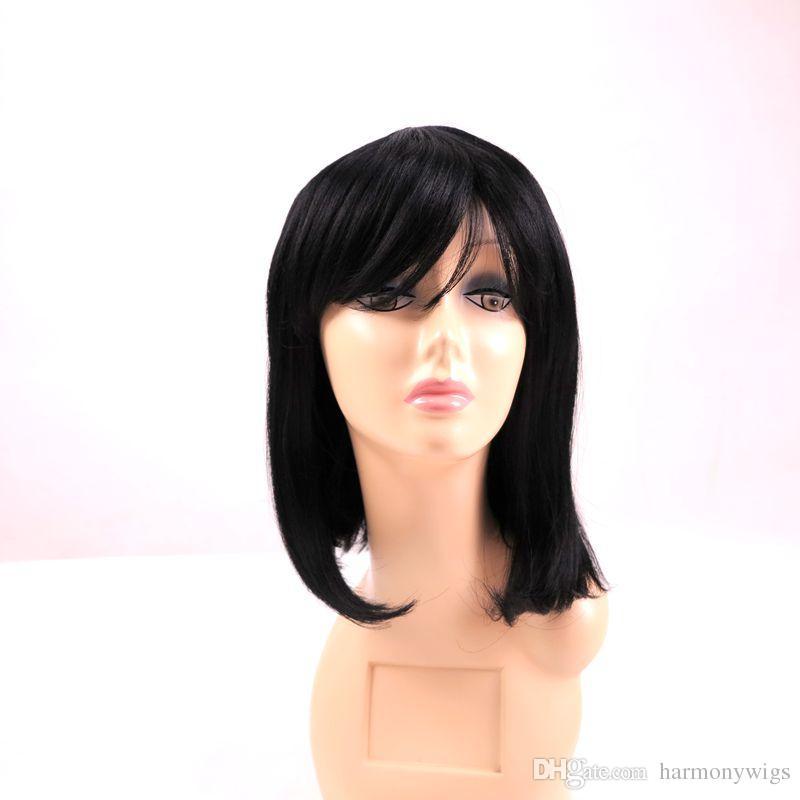 유행 머리카락을 가진 합성 머리 가발 야키 스트레이트 14inch 짧은 밥 가발 내열성 패션 합성 가발