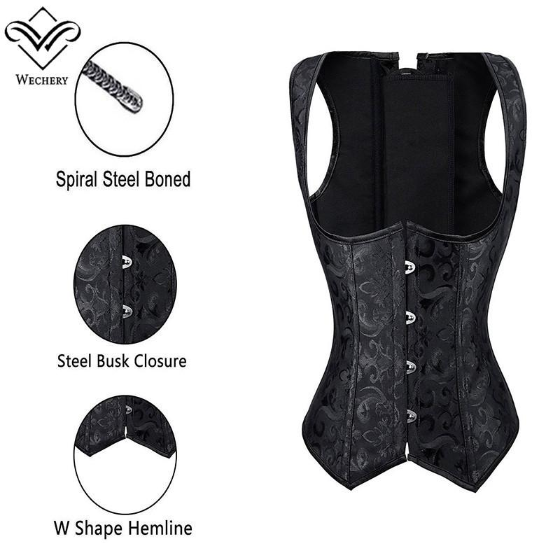 Women Brocade Waist Cincher Underbust Corset Vest Gothic Slimming Corsets Steel Boned Steampunk Clothing Plus Size S-6XL
