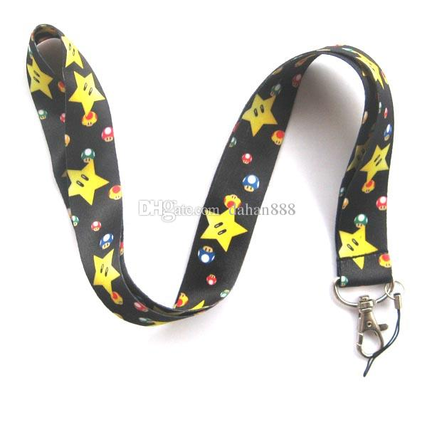 Wholesale Mixed 10 pcs Popular Cartoon Super Mario Mobile phone Lanyard Key Chains Pendant Party Gift Favors 0066
