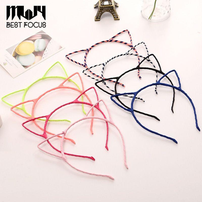 MLJY moda carino tessuto semplice fascia capelli testa fascia regalo di partito orecchie di gatto copricapo accessori per capelli 20pcs / lot