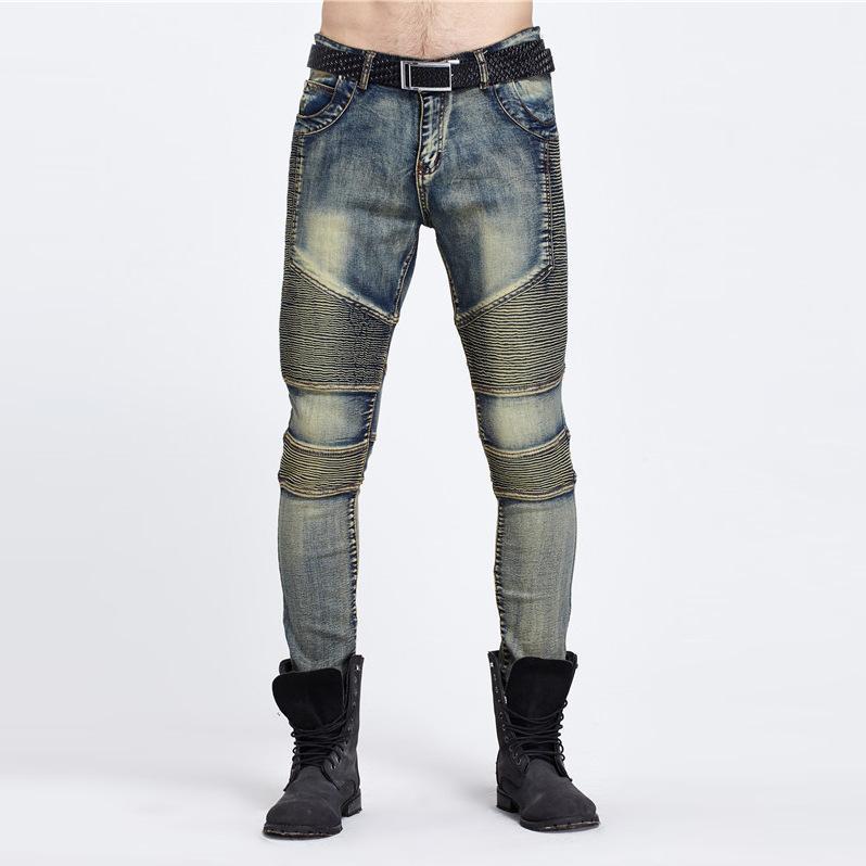 Wholesale-2016 Jeans de carga elástico de la cintura los pantalones de Jean de alta calidad táctica del dril de algodón Multi bolsillo del pantalón masculino de Carga Vaqueros ajustados Hombres