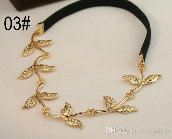 détail 5pcs mode chaude style bande de cheveux dame or olive feuille bandeau tête pièce chaîne laisse bande élastique d'or bandeau