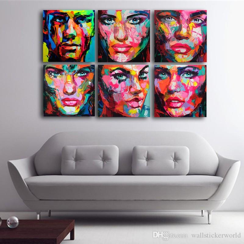 6 Pcs/Set Francoise Nielly Palette Wall Art Picture Modular pictures Canvas Print Wall Pictures Living Room Cuadros Decoracion No Framed