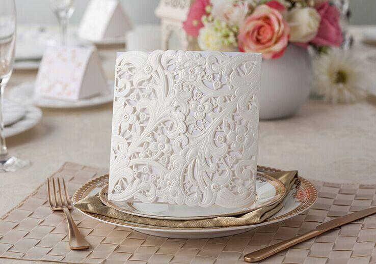 Wholesale- 50pcs/lot Pure White Laser Classical Wedding invitation Card, white inner sheet,envelope,birthday Halloween Invitation Card