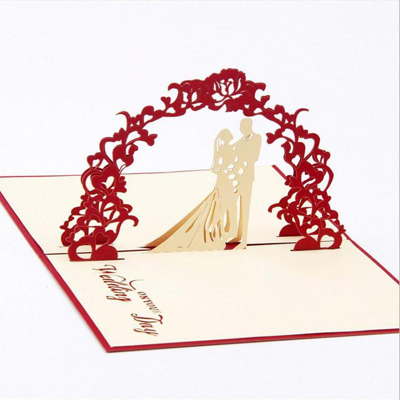 Wholesale- Fashion 3D Up Foldable Cut Paper Greeting Cards Creative Handmade Love Wedding Invitation Post Cards Valentines Commemorate
