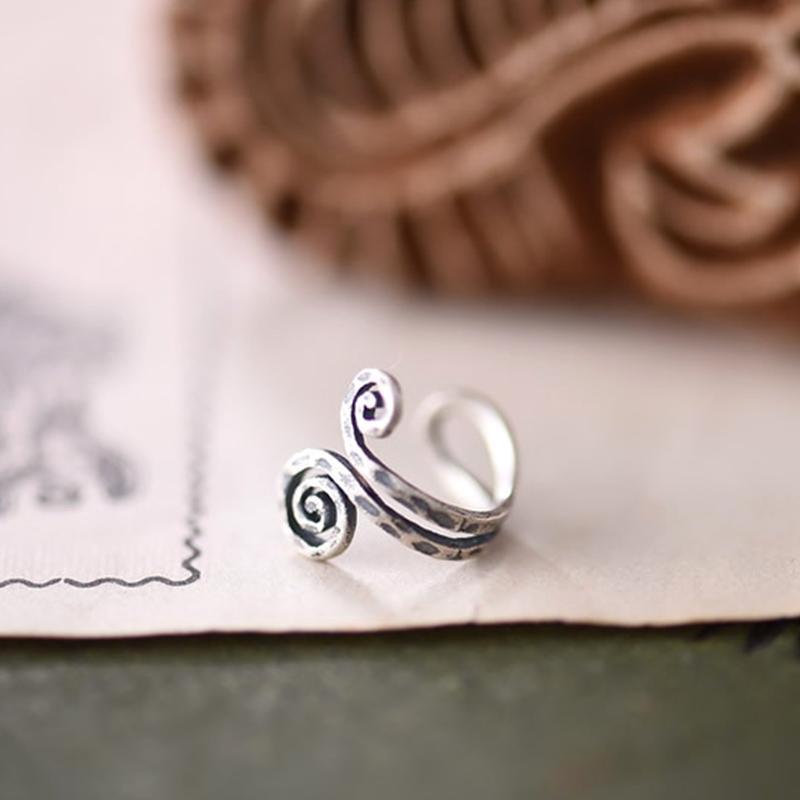 Retro Spirals Clipe de ouvido Sem Puncture 925 prata esterlina clipes antigo Brincos Punk Rock Ear Cuff Ear envoltório Brincos clipe