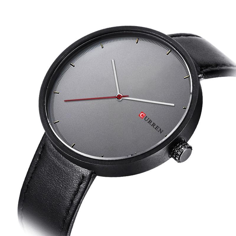 Curren Simple Creative Marque Montres À Quartz Hommes Bracelet En Cuir Causal Montre-Bracelet Unisexe De Luxe Design Relojes Hombre Montre 8223