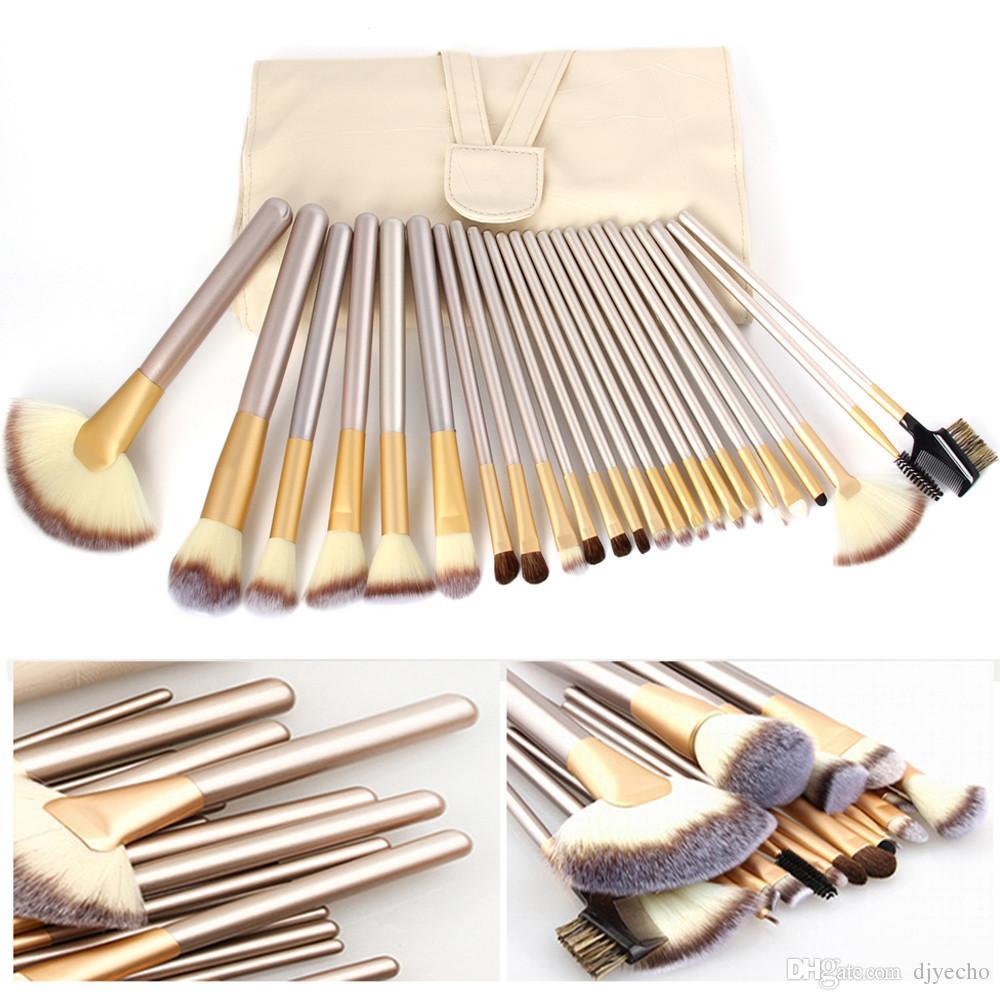 Luxe Professional 12/18 / 24pcs maquillage Pinceaux cosmétiques Fondation Kits d'ombres à paupières blush + Sac en cuir Maquiagem Champagne
