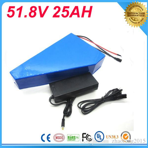 Free customes taxes 51.8v 25ah triangle battery 51.8v ebike batterie 52v 1000w li-ion battery pack for electric bicycle for Panasonic Cell