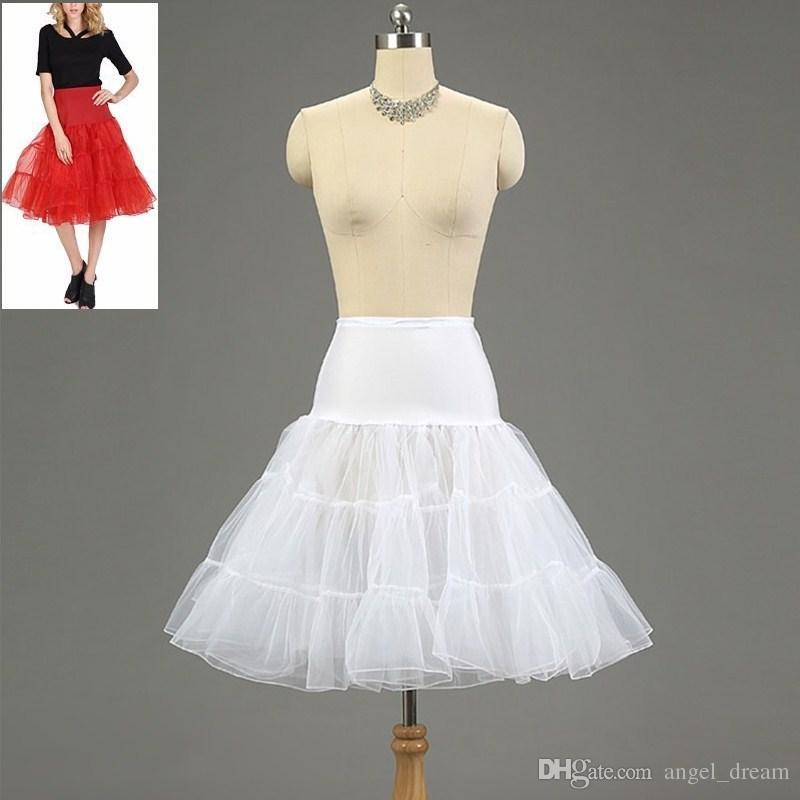 Brand New Petticoats Weiß Rot Hoopless Krinoline Hochzeit Braut-Dame-Girls Underskirt Prinzessin Rockabilly Tanz Petticoat Röckchen Tutu