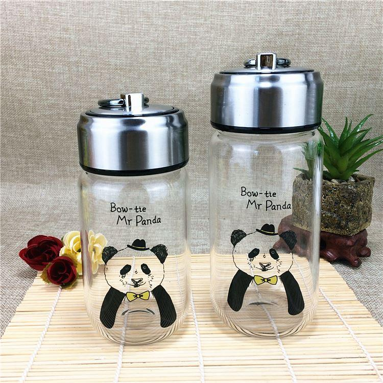 Creative Panda glass, covered cup, transparent, heat-resistant, sealed lovers cup, souvenir from Sichuan, Chengdu